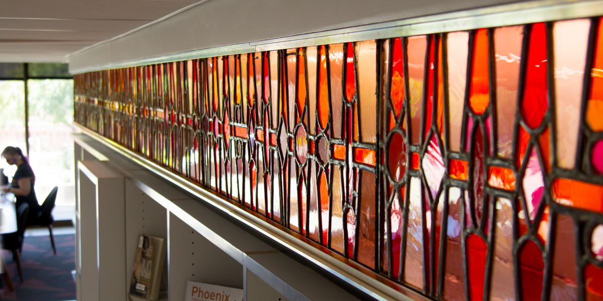 stained glass in Hayden library